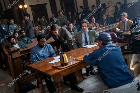 Stock Picture of Kelvin Harrison Jr as Fred Hampton, Yahya Abdul-Mateen II as Bobby Seale, Mark Rylance as William Kunstler, Ben Shenkman as Leonard Weinglass, Aaron Sorkin Writer/Director and Eddie Redmayne as Tom Hayden