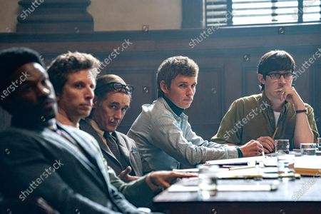 Stock Image of Yahya Abdul-Mateen II as Bobby Seale, Ben Shenkman as Leonard Weinglass, Mark Rylance as William Kunstler, Eddie Redmayne as Tom Hayden and Alex Sharp as Rennie Davis
