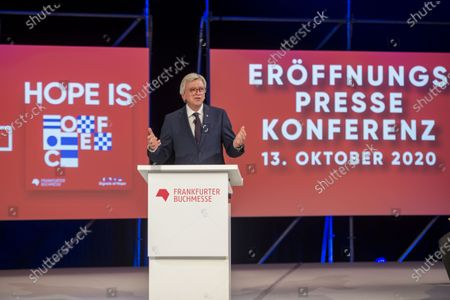 Germany's Hesse State Premier Volker Bouffier speaks at the opening conference of the 2020 Frankfurt Book Fair during the coronavirus pandemic in the 'Festhalle' in Frankfurt am Main, 13 October 2020. The Frankfurt Book Fair is the world's largest trade fair for books but is taking place this year at a much smaller scale and with many events either online or scattered throughout the city of Frankfurt due to the coronavirus pandemic. This year's Special Edition of the Book Fair takes place from 14 October to 18 October 2020.