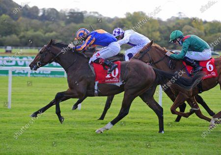 CORK SIR LUCAN and Colin Keane (near) beats Flying Visit (far) to win The Irish Stallion Farms EBF Median Auction Race for trainer Aidan O'Brien. Healy Racing