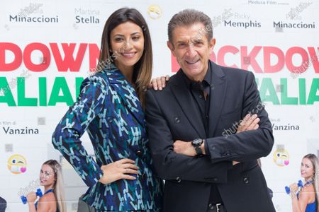 Romina Pierdomenico and Ezio Greggio