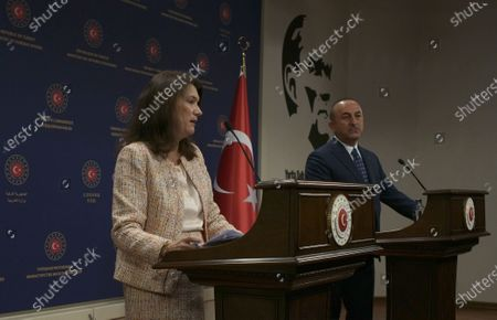Stock Image of Sweden's Foreign Minister Ann Linde, left, and Turkish Foreign Minister Mevlut Cavusoglu speak to the media after their talks, in Ankara, Turkey, . Linde on Tuesday subtly criticized Turkey over its curbs on freedom of expression, after Cavusoglu took a swipe at Stockholm's policies during a joint news conference that quickly turned tense