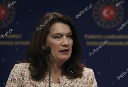 Stock Picture of Sweden's Foreign Minister Ann Linde speaks during joint news conference with Turkish Foreign Minister Mevlut Cavusoglu after their talks, in Ankara, Turkey, . Linde on Tuesday subtly criticized Turkey over its curbs on freedom of expression, after Cavusoglu took a swipe at Stockholm's policies during a joint news conference that quickly turned tense