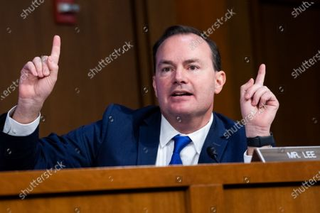 United States Senator Mike Lee (Republican of Utah) questions Supreme Court justice nominee Amy Coney Barrett on the second day of her Senate Judiciary Committee confirmation hearing in Hart Senate Office Building. (Photo By Tom Williams/CQ Roll Call/POOL)