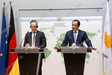 Cypriot Foreign Minister Nikos Christodoulides (R) and German Foreign Minister Heiko Maas (L) hold a joint news conference following their meeting at the Ministry of Foreign Affairs, in Nicosia, Cyprus, 13 October 2020. Mass is on a visit to Cyprus and Greece to show 'full solidarity' as partners in the European Union, amid a dispute with Turkey over drilling rights in the eastern Mediterranean.