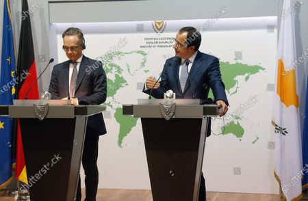 Stock Picture of Cypriot Foreign Minister Nikos Christodoulides (R) and German Foreign Minister Heiko Maas (L) hold a joint news conference following their meeting at the Ministry of Foreign Affairs, in Nicosia, Cyprus, 13 October 2020. Mass is on a visit to Cyprus and Greece to show 'full solidarity' as partners in the European Union, amid a dispute with Turkey over drilling rights in the eastern Mediterranean.