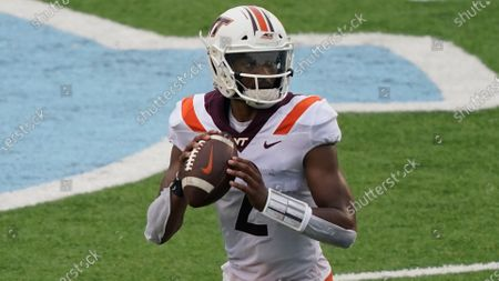Virginia Tech quarterback Hendon Hooker (2) looks to pass against North Carolina during the second half of an NCAA college football game in Chapel Hill, N.C