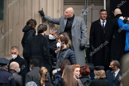 "Filming takes place for the movie ""The Batman at St. George's Hall in Liverpool's city center, England, . The production had a break in filming after the star of the movie Robert Pattinson reportedly testing positive for the virus last month"