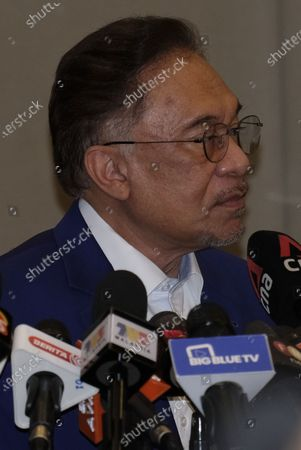The President of Parti Keadilan Rakyat (PKR) Anwar Ibrahim seen during the press conference at Le Meridien Hotel. Anwar Ibrahim the Malaysian oppositional leader set to meet with Yang di-Pertuan Agong Al-Sultan Abdullah at National Palace on Tuesday to prove he had the majority parliament support needed to replace Prime Minister, Muhyiddin Yassin. On 23rd September Anwar, had said he had already received the royal assent for audience but it was postponed due to His Majesty being treated at National Heart Institute during the time.