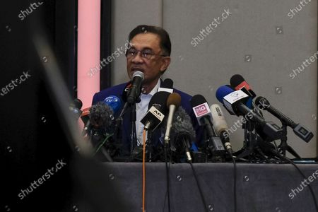 Stock Image of The President of Parti Keadilan Rakyat (PKR) Anwar Ibrahim speaking during the press conference at Le Meridien Hotel. Anwar Ibrahim the Malaysian oppositional leader set to meet with Yang di-Pertuan Agong Al-Sultan Abdullah at National Palace on Tuesday to prove he had the majority parliament support needed to replace Prime Minister, Muhyiddin Yassin. On 23rd September Anwar, had said he had already received the royal assent for audience but it was postponed due to His Majesty being treated at National Heart Institute during the time.