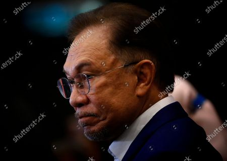 Malaysian opposition leader Anwar Ibrahim during a press conference after meeting the nation's king in Kuala Lumpur. Anwar met the king in a bid to form a new government after claiming he had secured a majority in Parliament.