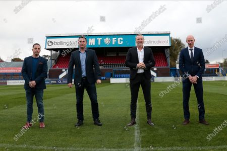 The new top team at Macclesfield FC, Carlos Roca, (Academy manager), Robert Smethurst (owner), Robbie Savage (Head of Football Operations) and Danny Whittaker (first team manager)