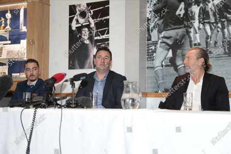 Robert Smethurst the new owner of Macclesfield FC answers questions at todays press conference alongside Robbie Savage