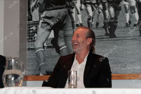 Robbie Savage sees the funny side at todays press conference launching the new Macclesfield FC