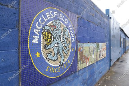 The old Macclesfield Town logo outside the Moss Rose Stadium