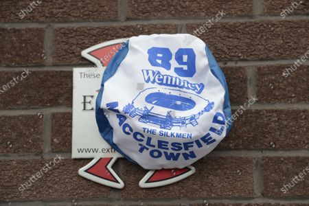 Football memories of the old Macclesfield Town, a Wembley Õ89 scarf left by a fan outside the stadium