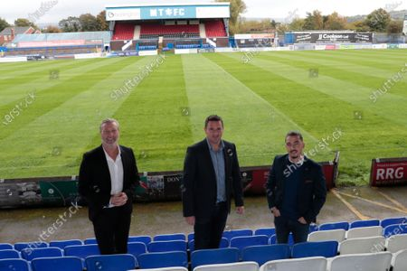 Robbie Savage, Robert Smethurst and Carlos Roca the new ownership team at Macclesfield FC