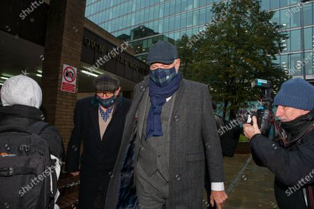 Stock Photo of John Leslie leaves Southwark Crown Court on day two of his trial for sexual assault following an alleged incident in a nightclub in 2008. He was accompanied by his father Les Stott (left).