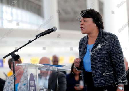 New Orleans Mayor Latoya Cantrell speaks at a ribbon cutting ceremony for the opening the newly built main terminal of the Louis Armstrong New Orleans International Airport in Kenner, La. Cantrell came to the Louisiana Capitol, to ask for money to help the city's coronavirus-damaged budget, but Republican lawmakers questioned her economic reopening decisions rather than offering her promises of aid