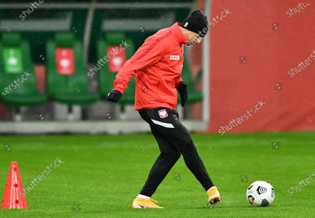 Stock Image of Polish national soccer team player Kamil Grosicki attends a training session in Wroclaw, western Poland, 13 October 2020. Poland will face Bosnia and Herzegovina in their UEFA Nations League soccer match on 14 October 2020.