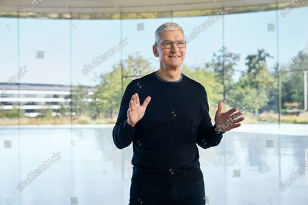 Handout image released by Apple showing Apple CEO Tim Cook kicking off a special event at Apple Park. Apple is expected to introduce several new products including a new iPhone.