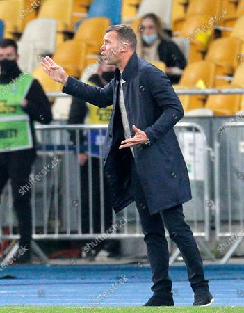 Head coach Andriy Shevchenko of Ukraine reacts during the UEFA Nations League group stage, league A, group 4 soccer match between Ukraine and Spain in Kiev, Ukraine, 13 October 2020.