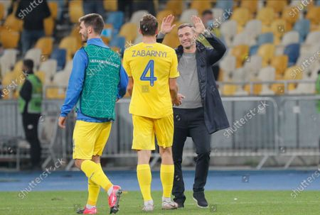 Head coach Andriy Shevchenko (R) and Illia Zabarnyi of Ukraine react after the UEFA Nations League group stage, league A, group 4 soccer match between Ukraine and Spain in Kiev, Ukraine, 13 October 2020.