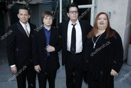 """Jon Cryer, from left, Angus T. Jones, Charlie Sheen and Conchata Ferrell appear backstage at the TV Land Awards, in Universal City, Calif. Ferrell, who became known for her role as Berta the housekeeper on TV's """"Two and a Half Men,"""" has died. Ferrell was 77. A publicist says the actor died in the Sherman Oaks neighborhood of Los Angeles following cardiac arrest, with her family at her side"""