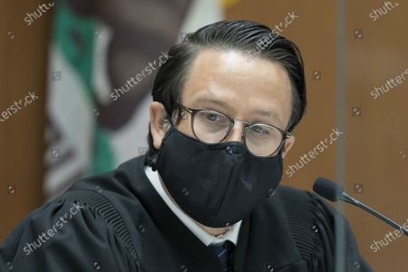Judge Miguel Espinosa presides over the arraignment of Canadian rapper Tory Lanez, who appears by telephone, at Clara Shortridge Foltz Criminal Justice Center on charges of assaulting rapper and singer Megan Thee Stallion in Los Angeles, California, USA, 13 October 2020. Daystar Peterson, aka Tory Lanez, is accused of shooting several times at her feet and wounding her. He is charged with assault with a semiautomatic firearm and carrying a loaded, unregistered firearm in a vehicle. If convicted, he faces as much as 22 years in state prison. Lanez has denied allegations that he shot Megan.