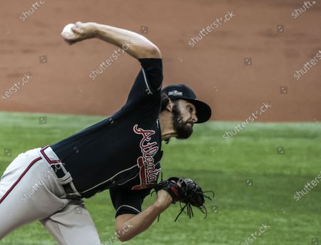 Atlanta Braves starting pitcher Ian Anderson throws in the first inning of the National League Championship Series game two between the Atlanta Braves and the Los Angeles Dodgers at Globe Life Field in Arlington, Texas, USA, 13 October 2020.