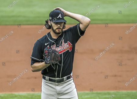 Atlanta Braves starting pitcher Ian Anderson reacts after walking Los Angeles Dodgers right fielder Mookie Betts in the third inning of the National League Championship Series game two between the Atlanta Braves and the Los Angeles Dodgers at Globe Life Field in Arlington, Texas, USA, 13 October 2020.