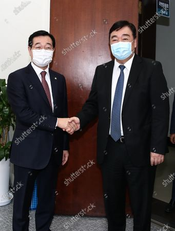 Editorial image of South Korea's chairman of the defense committee meets Chinese envoy in Seoul - 14 Oct 2020