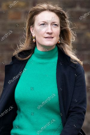 Newly announced government spokesperson Allegra Stratton arrives at 10 Downing Street .