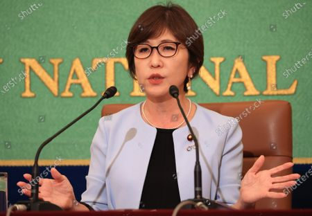 Former Japanese Defense Minister and ruling Liberal Democratic Party (LDP) lawmaker Tomomi Inada speaks at the Japan National Press Club in Tokyo on Wednesday, October 14, 2020. Inada urged gender inequality in Japan's political system.