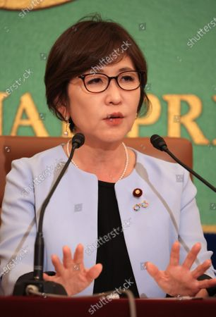 Stock Image of Former Japanese Defense Minister and ruling Liberal Democratic Party (LDP) lawmaker Tomomi Inada speaks at the Japan National Press Club in Tokyo on Wednesday, October 14, 2020. Inada urged gender inequality in Japan's political system.
