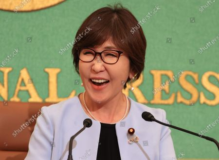 Stock Picture of Former Japanese Defense Minister and ruling Liberal Democratic Party (LDP) lawmaker Tomomi Inada speaks at the Japan National Press Club in Tokyo on Wednesday, October 14, 2020. Inada urged gender inequality in Japan's political system.