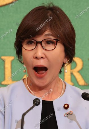 Stock Photo of Former Japanese Defense Minister and ruling Liberal Democratic Party (LDP) lawmaker Tomomi Inada speaks at the Japan National Press Club in Tokyo on Wednesday, October 14, 2020. Inada urged gender inequality in Japan's political system.