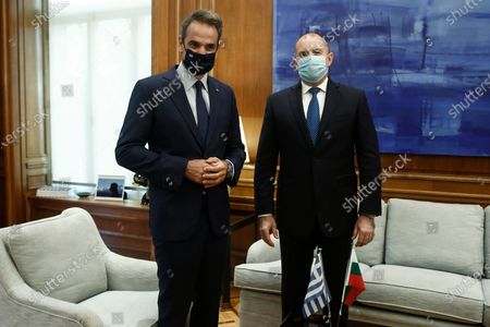 Greek Prime Minister Kyriakos Mitsotakis (L) and Bulgarian President Rumen Radev (R) pose for a picture prior their meeting in Athens, Greece, 14 October 2020. Bulgarian President Rumen Radev is on an official visit in Athens.