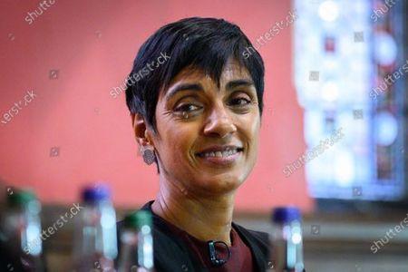 Stock Photo of Reeta Chakrabarti, British journalist, newsreader and presenter for BBC News speaking to the Oxford Union