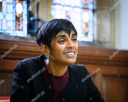 Stock Picture of Reeta Chakrabarti, British journalist, newsreader and presenter for BBC News speaking to the Oxford Union