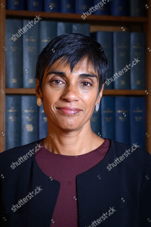 Stock Image of Reeta Chakrabarti, British journalist, newsreader and presenter for BBC News speaking to the Oxford Union