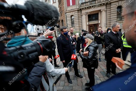 Editorial photo of 'Wall of Misunderstanding' protest against royalty tax rising in Riga, Latvia - 14 Oct 2020