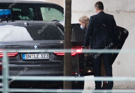 Premier of Mecklenburg-Western Pomerania Manuela Schwesig (L) arrives for a meeting at the German chancellery in Berlin, Germany, 14 October 2020. German Chancellor Angela Merkel meets heads of the federal states for a discussion on the restrictions against the coronavirus (COVID-19).