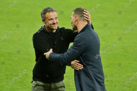 KYIV, UKRAINE - OCTOBER 13, 2020: Ukraine coach Andriy Shevchenko and Spain coach Luis Enrique after the match
