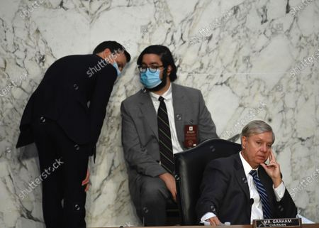 Stock Image of Senator Lindsey Graham (R) (R-NC) listens during the third day of Senate Judiciary Committee confirmation hearings for Judge Barrett on Capitol Hill in Washington, DC, USA, 14 October 2020. The hearings are expected to last four days.