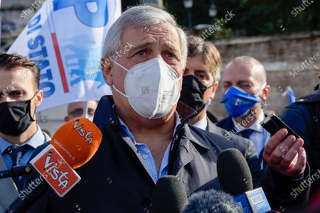 Stock Image of The Vice-President of the Forza Italia party Antonio Tajani speaks to the press while wearing a facemask at the Piazza del Popolo during the demonstration.Unified demonstration of the unions of the Italian police forces to demand for greater protection, an extraordinary plan of hirings and a dignified contractual increase for the law enforcement.