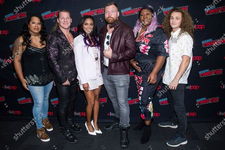 "Nyla Rose, from left, Chris Jericho, Brandi Rhodes, Jon Moxley, Awesome Kong and Jungle Boy attend New York Comic Con to promote TNT's ""All Elite Wrestling: Dynamite"". All Elite Wrestling is set to celebrate its one-year anniversary with a show from Daily's Place in Jacksonville, Fla."