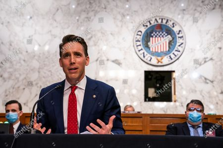United States Senator Josh Hawley (Republican of Missouri) during the US Senate Judiciary Committee hearing of Supreme Court nominee Amy Coney Barrett in Washington, DC.