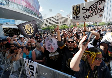 """Fans gather outside T-Mobile Arena prior to Game 1 of the NHL hockey Stanley Cup Finals between the Vegas Golden Knights and the Washington Capitals, in Las Vegas. The Vegas Golden Knights started as a lovable collection of """"misfits"""" in their inaugural season, when they made an improbable run to the Stanley Cup Final. Underdogs no more, Vegas has traded for or signed some of the NHL's best players, gotten rid of some fan favorites and is now a stone cold perennial contender laser-focused on winning now"""