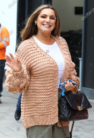 Kelly Brook arriving at the Global Radio Studios in Leicester Square.